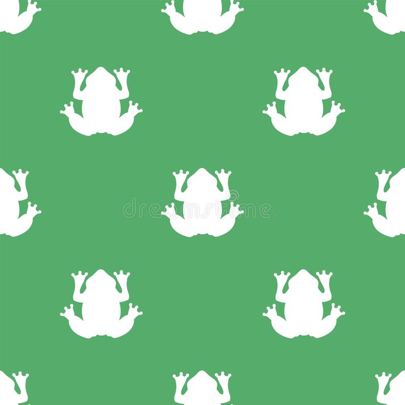 Siluetta di una rana bianca su un fondo verde illustrazione di stock