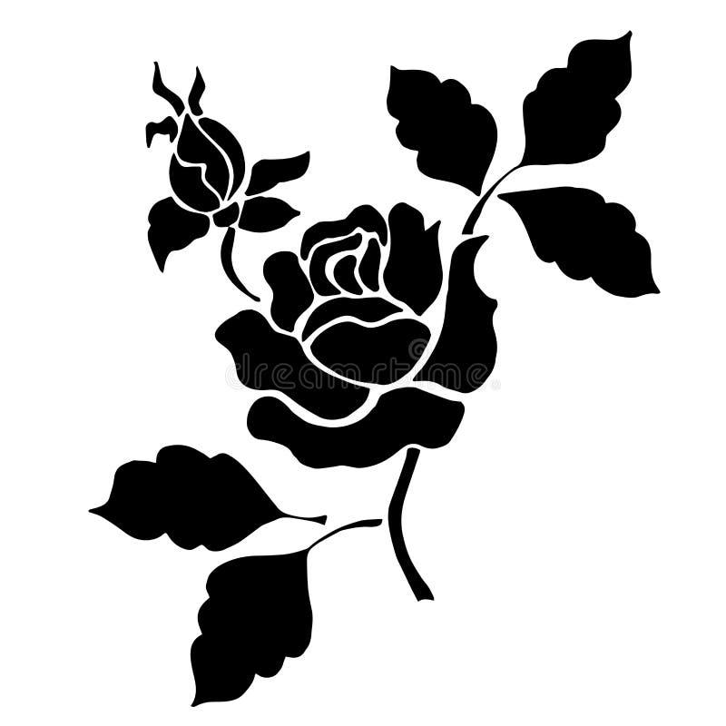 Siluetta Della Rosa Nera Su Un Fondo Bianco Illustrazione