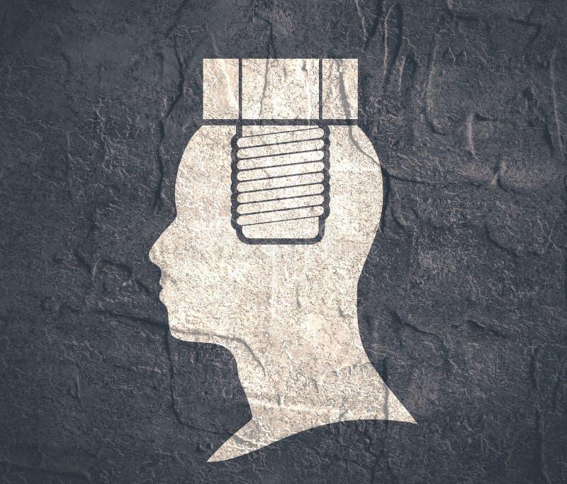 Siluetta di una testa del ` s dell'uomo con la vite illustrazione vettoriale