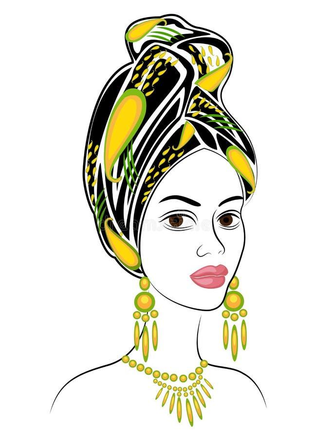 Siluetta di una testa di una signora dolce Uno scialle luminoso e un turbante sono legati sulla testa di una ragazza afroamerican royalty illustrazione gratis