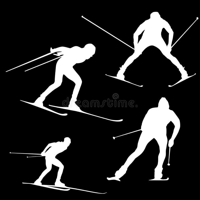 Siluetta di uno sciatore nelle pose differenti contro un fondo nero illustrazione di stock