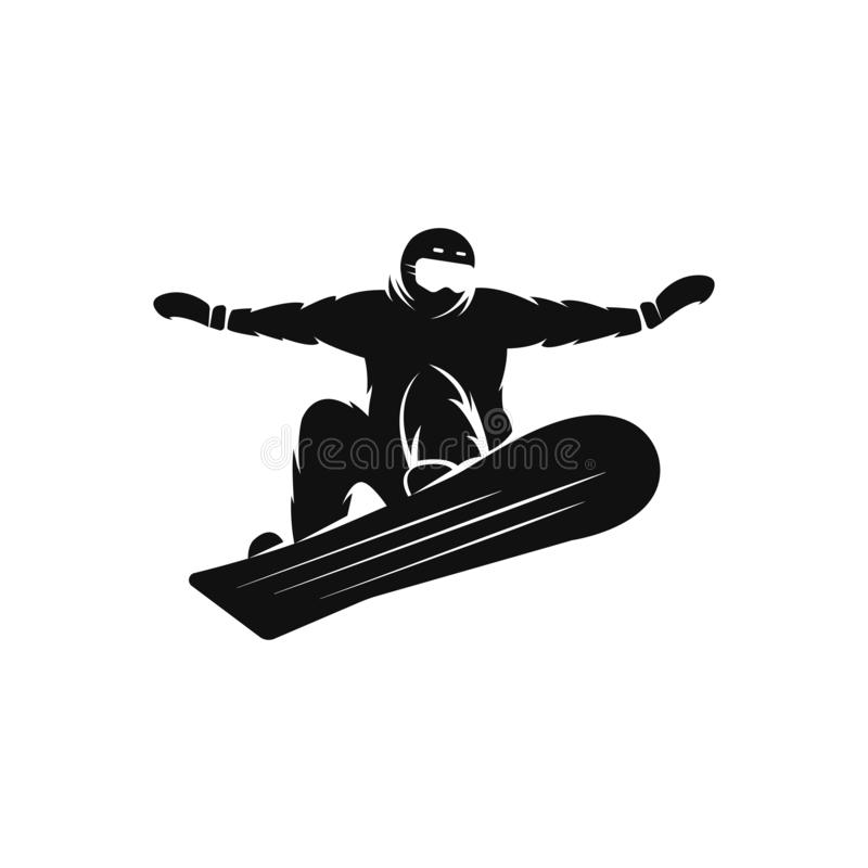 Siluetta di uno snowboarder sullo scroccone dello snowboard che salta nell'aria, modello estremo di logo di sport di snowboard royalty illustrazione gratis
