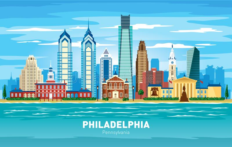 Siluetta di vettore di colore dell'orizzonte della città di Filadelfia Pensilvania illustrazione vettoriale