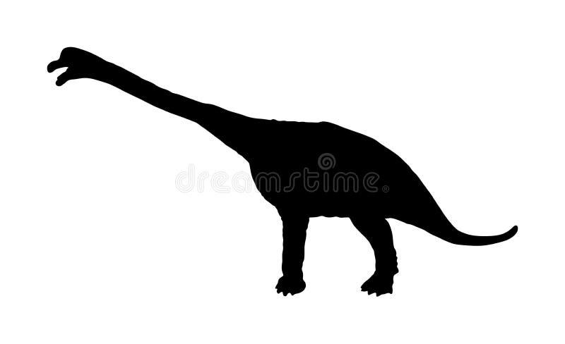 Siluetta di vettore del Brachiosaurus isolata su bianco Simbolo dei dinosauri Segno di Dino illustrazione di stock