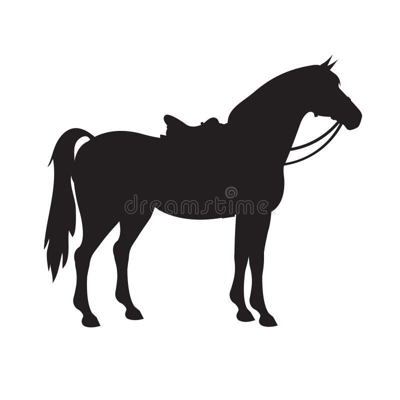 Siluetta di vettore del cavallo con la sella e la briglia royalty illustrazione gratis