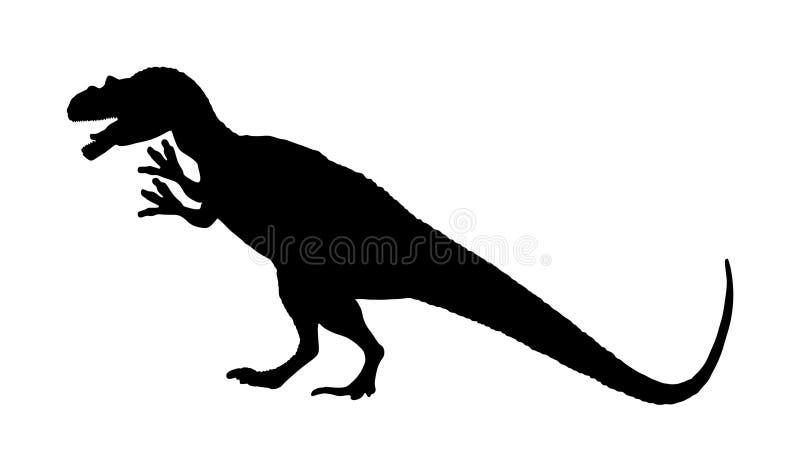 Siluetta di vettore del Cryolophosaurus isolata su bianco Simbolo dei dinosauri Era giurassica Segno di Dino Siluetta del rex di  illustrazione vettoriale