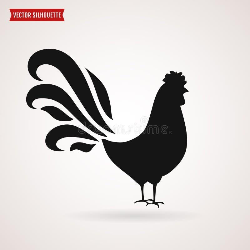 Siluetta di vettore del gallo illustrazione vettoriale