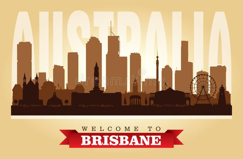 Siluetta di vettore dell'orizzonte della città di Brisbane Australia illustrazione di stock