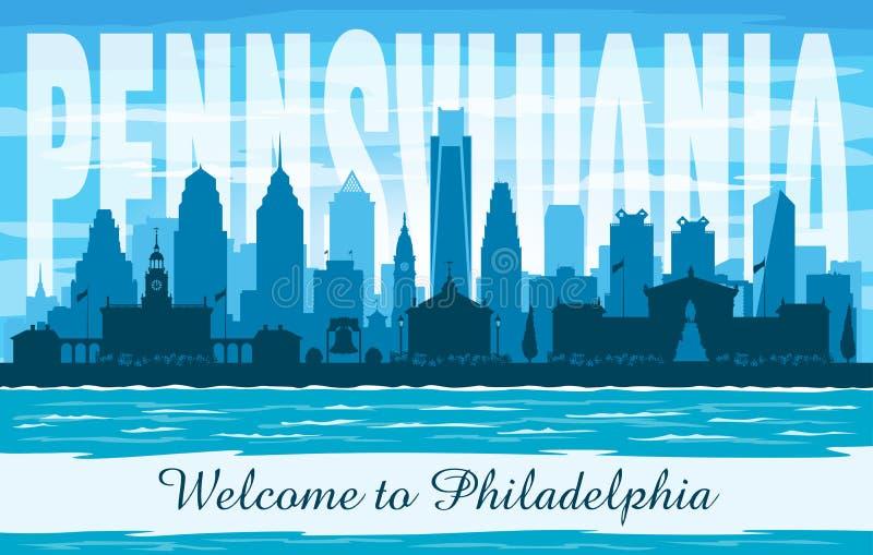 Siluetta di vettore dell'orizzonte della città di Filadelfia Pensilvania royalty illustrazione gratis