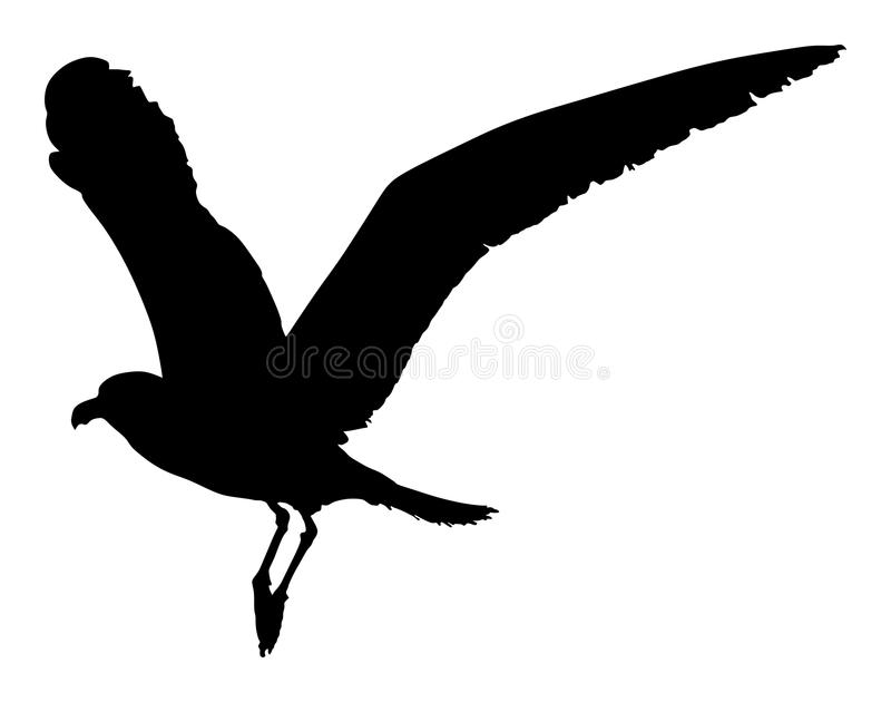Siluetta di vettore della mosca del gabbiano royalty illustrazione gratis