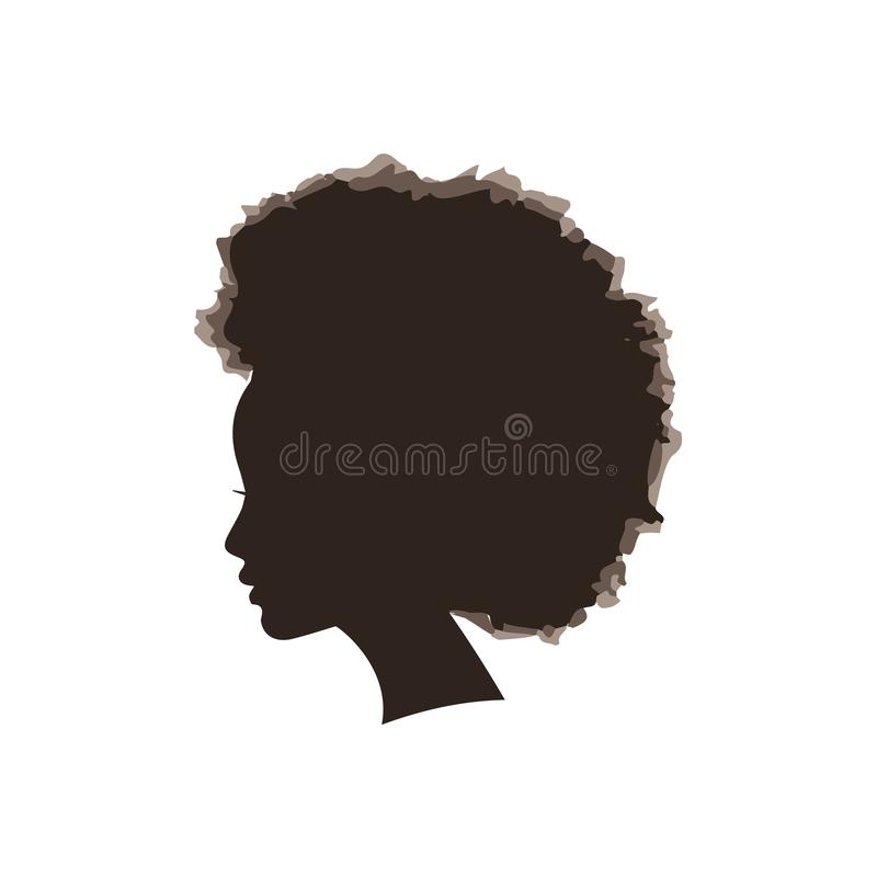 Siluetta di vettore della ragazza di afro illustrazione vettoriale