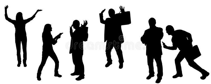 siluetta di vettore della rapina in banca illustrazione di stock