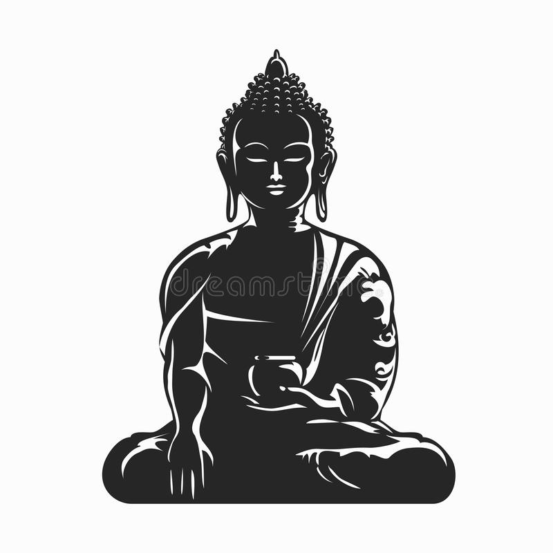 Siluetta di vettore di Buddha illustrazione di stock