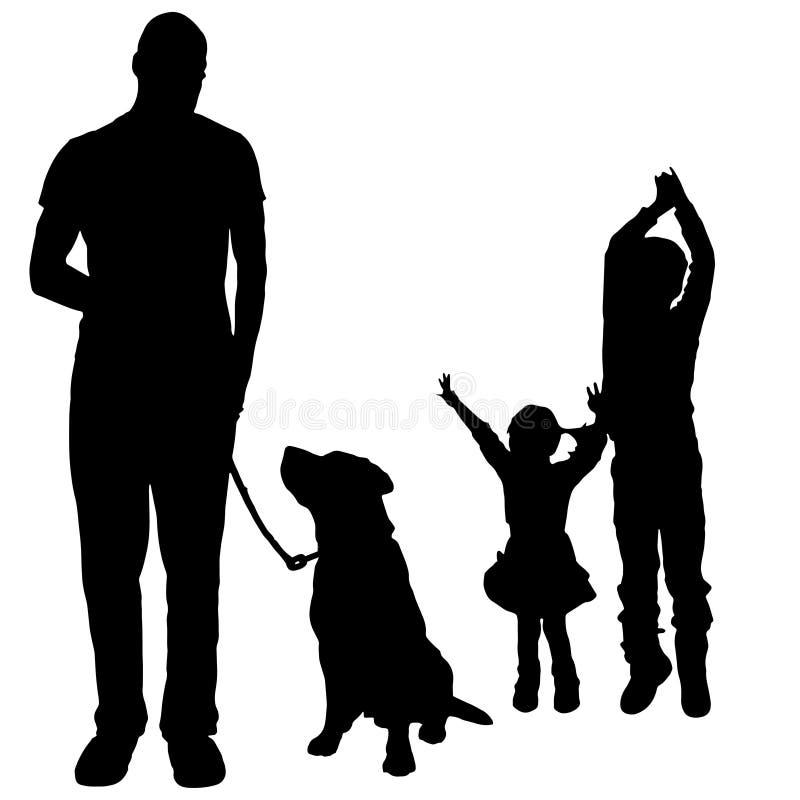 Siluetta di vettore di una famiglia royalty illustrazione gratis