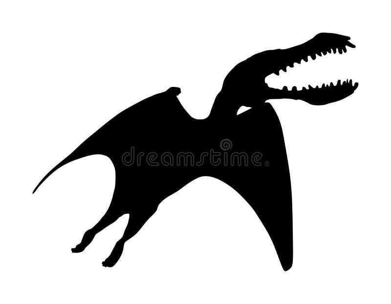 Siluetta di vettore di Tropeognathus isolata su bianco Siluetta di vettore del pterodattilo Jurassic Park Uccello del dinosauro royalty illustrazione gratis
