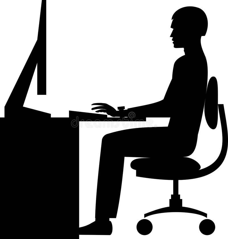 Siluetta di vettore di un funzionamento di seduta dell'uomo al computer illustrazione vettoriale