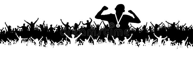 Siluetta di vittoria dell'uomo di sport Folla dei fan, incoraggiante Insegna, fondo di vettore illustrazione vettoriale