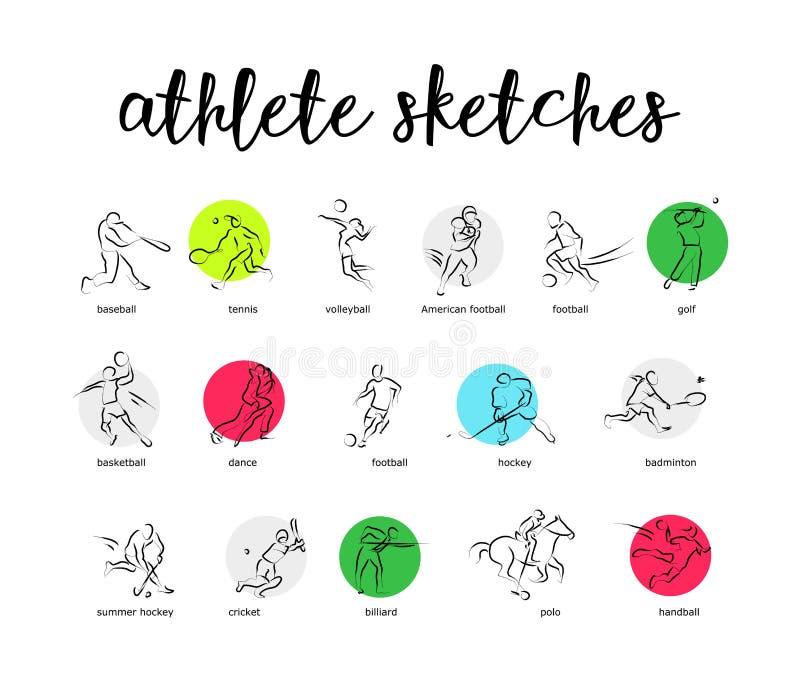 Siluetta disegnata a mano dell'atleta di sport di vettore isolata illustrazione di stock