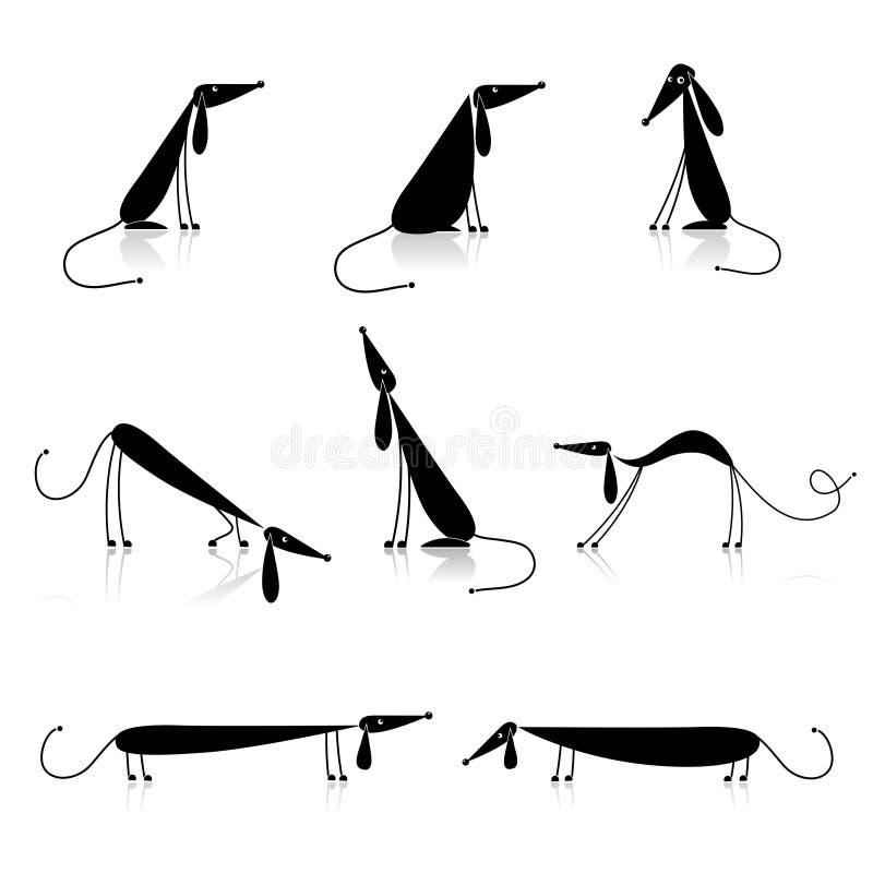 Siluetta divertente dei cani neri, accumulazione illustrazione vettoriale