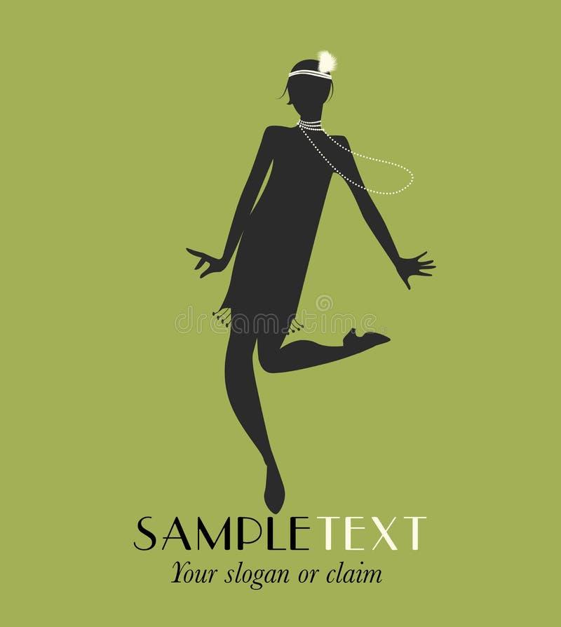 Siluetta divertente della ragazza che balla Charleston illustrazione di stock