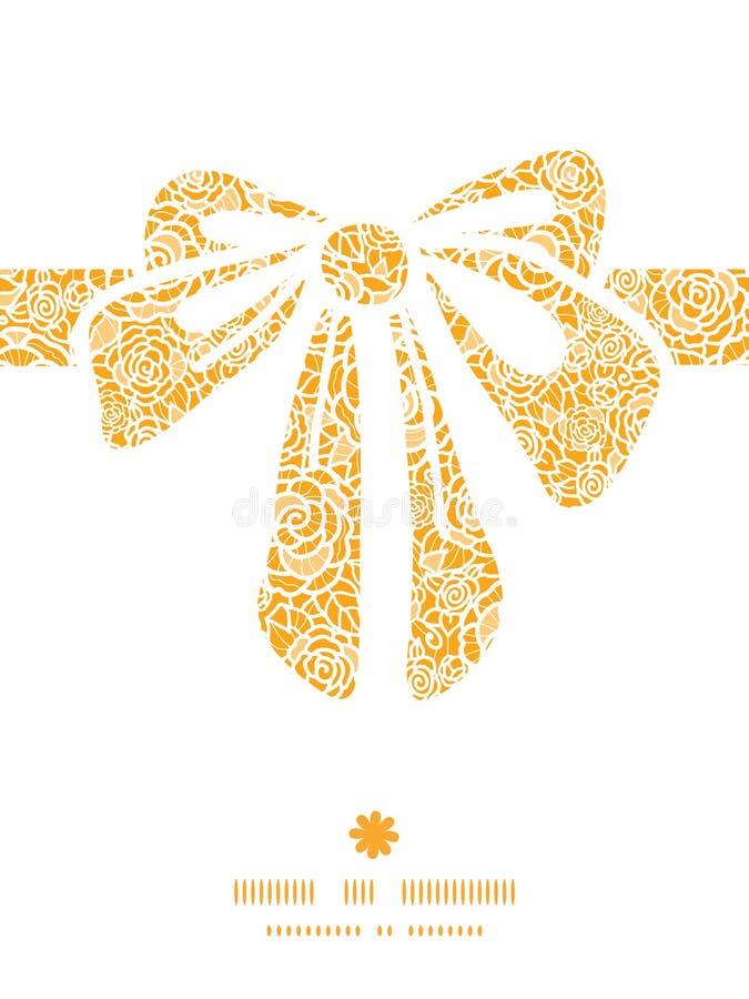 Siluetta dorata dell'arco del regalo delle rose del pizzo di vettore royalty illustrazione gratis