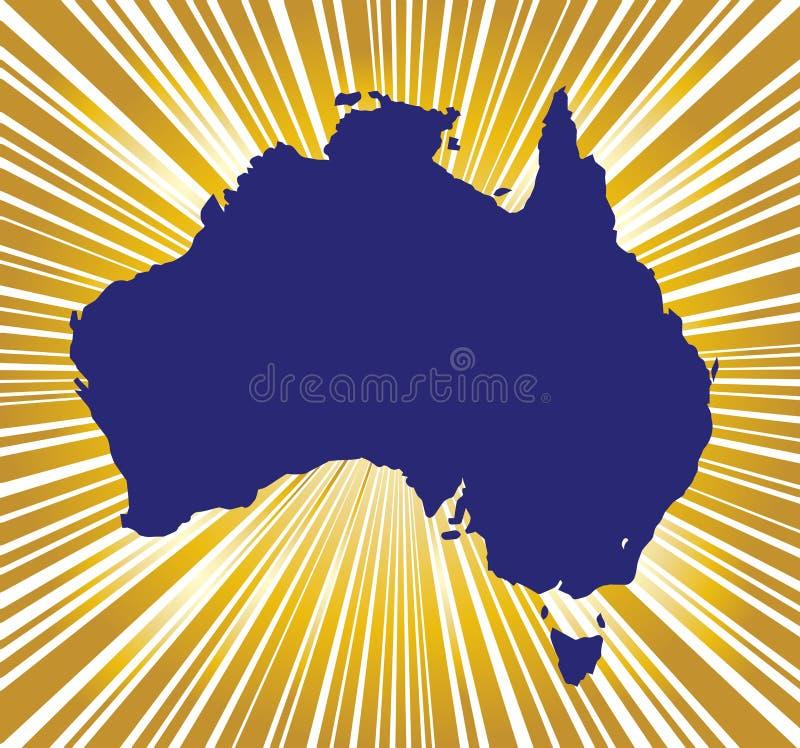 Siluetta dorata dell'Australia illustrazione di stock