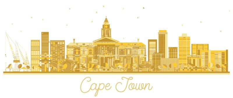 Siluetta dorata dell'orizzonte della città di Cape Town Sudafrica royalty illustrazione gratis