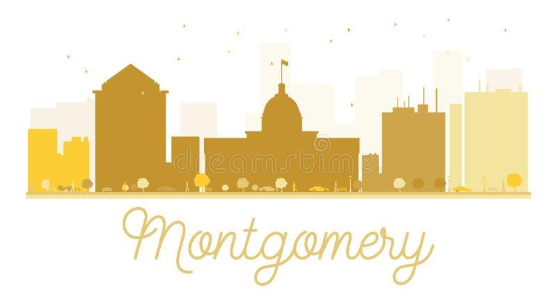 Siluetta dorata dell'orizzonte di Montgomery City illustrazione vettoriale