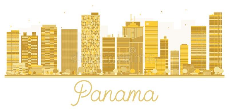 Siluetta dorata dell'orizzonte di Panamá illustrazione vettoriale