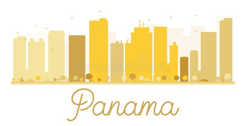 Siluetta dorata dell'orizzonte di Panamá illustrazione di stock