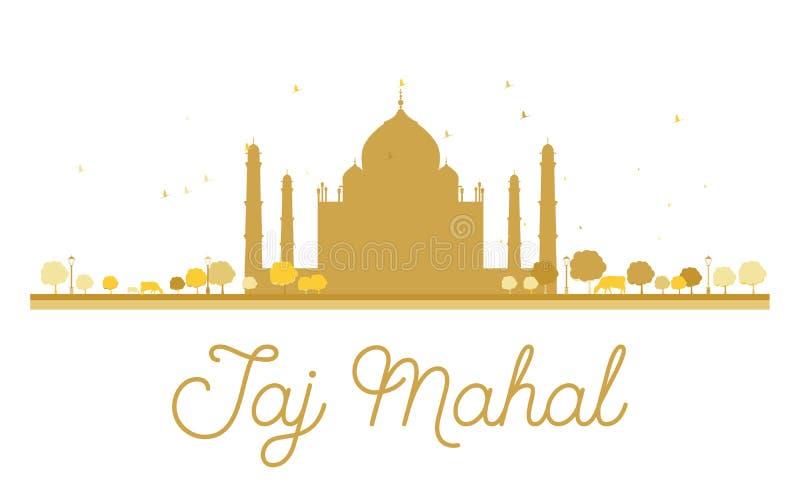 Siluetta dorata di Taj Mahal illustrazione di stock