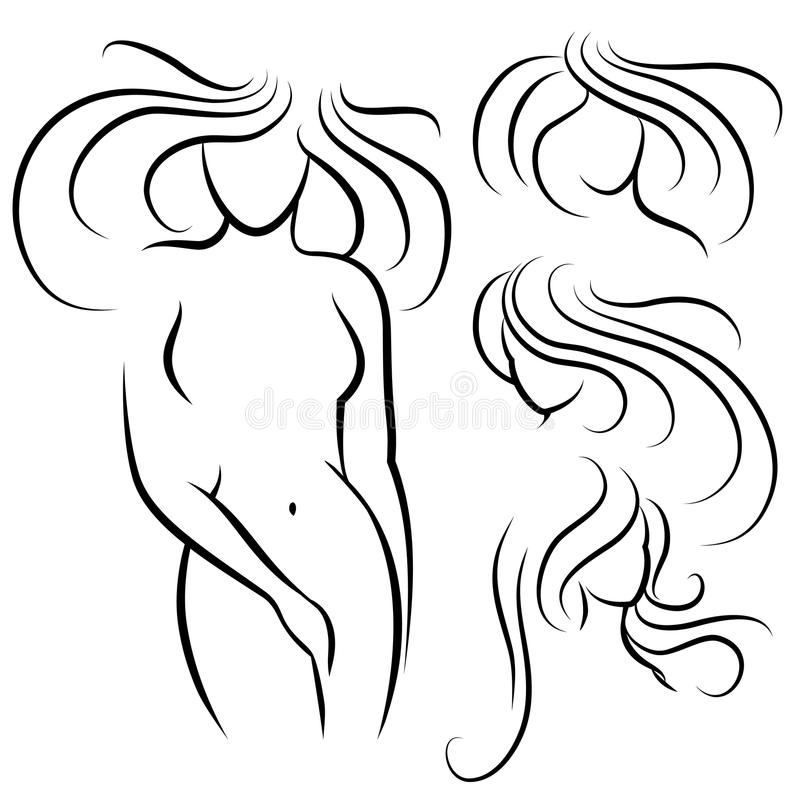 Siluetta e acconciature della donna elegante illustrazione di stock