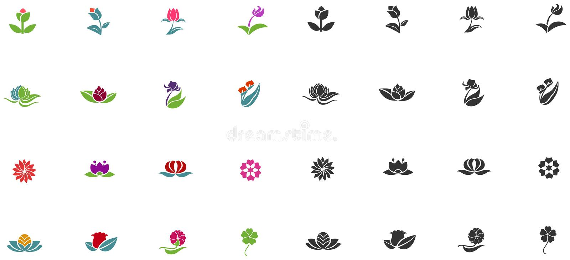 Siluetta e fiore di forma di logo di fantasia di colore illustrazione vettoriale