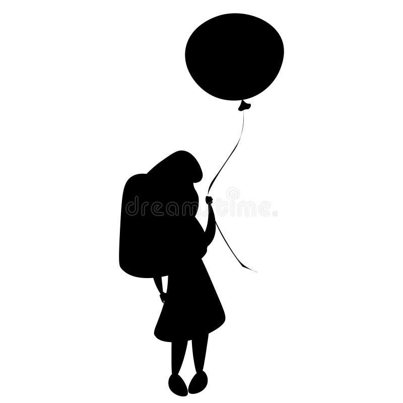 Siluetta e palloni della ragazza illustrazione vettoriale