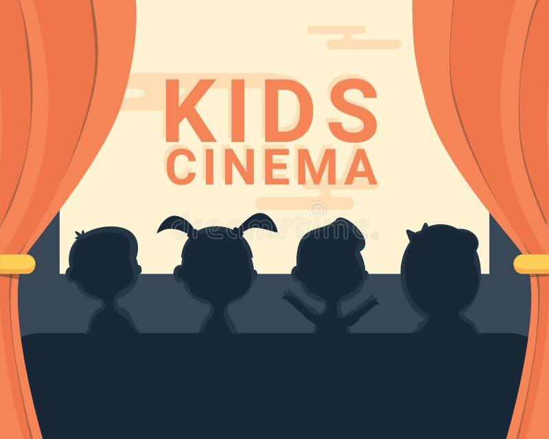 Siluetta e testo in bianco e nero del cinema dei bambini illustrazione vettoriale