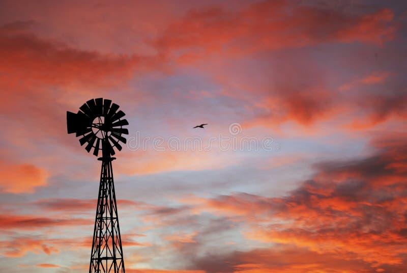 Siluetta e tramonto del mulino a vento fotografia stock