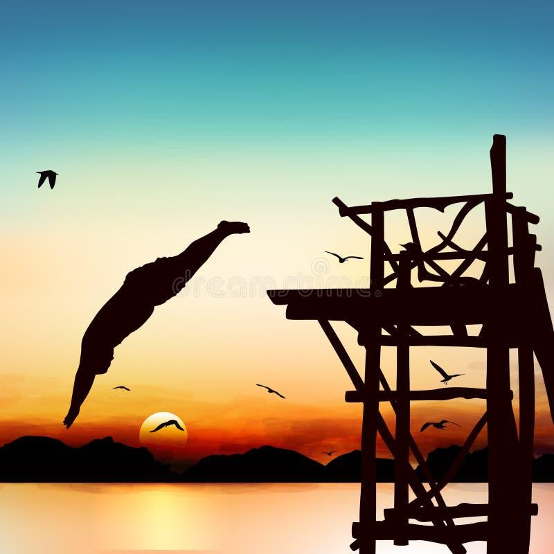 Siluetta ed uomo di salto illustrazione vettoriale