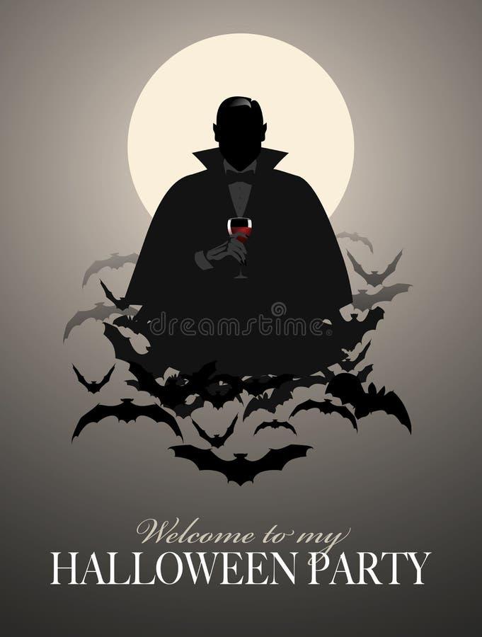 Siluetta elegante del vampiro su una nuvola dei pipistrelli che tengono un bicchiere di vino illustrazione di stock