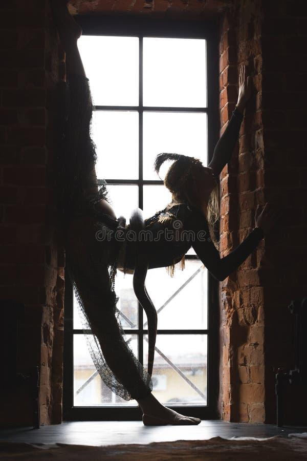 Siluetta femminile esile che esegue ballo con un serpente davanti alla finestra fotografia stock