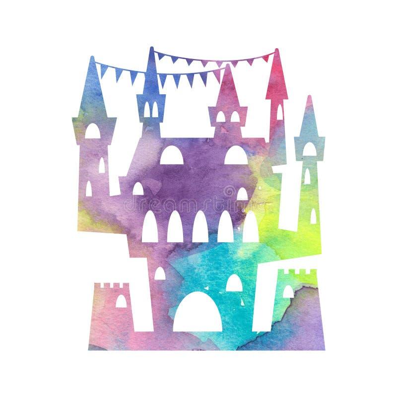 Siluetta festiva del castello con struttura dell'acquerello su fondo bianco Palazzo di principessa con le torri ed il nastro dell royalty illustrazione gratis
