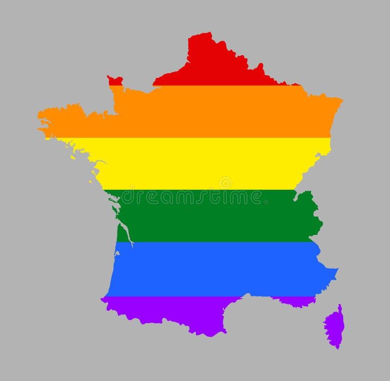 Siluetta gay della mappa di orgoglio della Francia con i colori della bandiera dell'arcobaleno illustrazione vettoriale