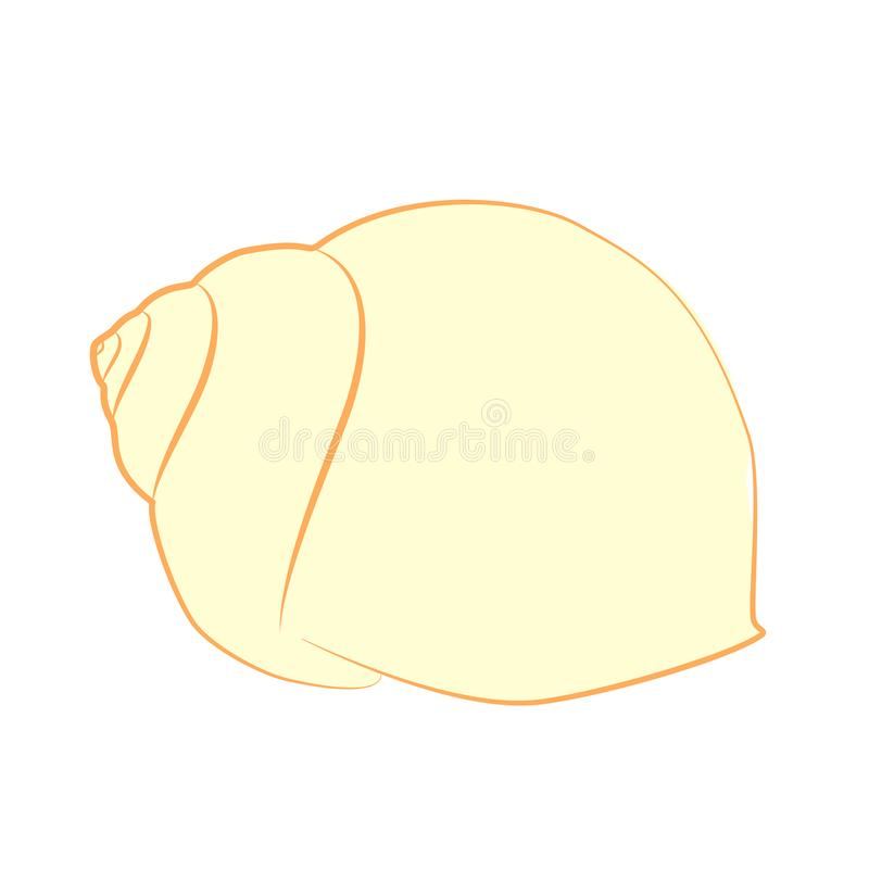 Siluetta gialla della conchiglia isolata su bianco, vettore, ENV 10 royalty illustrazione gratis