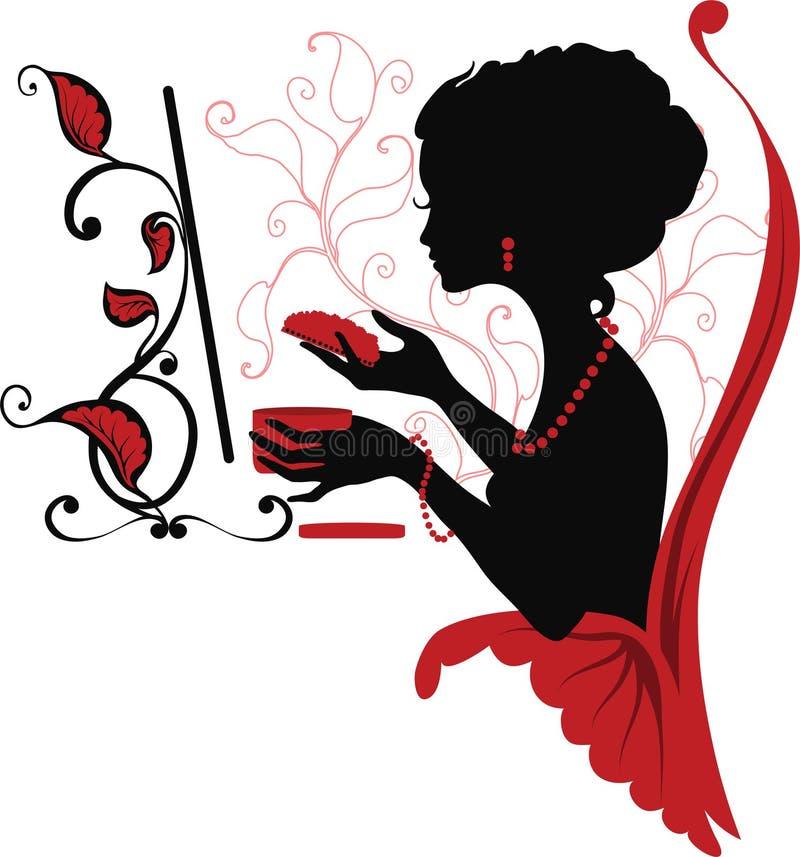 Siluetta grafica di Doodle di una donna. illustrazione di stock