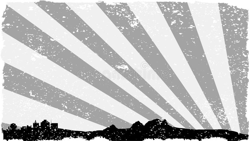 Siluetta Grey Grunge della città illustrazione vettoriale