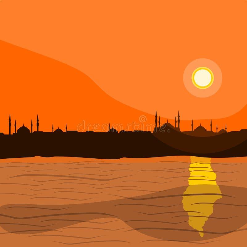 Siluetta islamica della città di Costantinopoli royalty illustrazione gratis