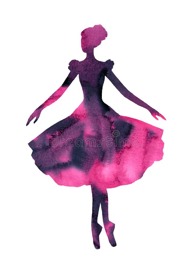 Siluetta isolata dell'acquerello di una ballerina royalty illustrazione gratis