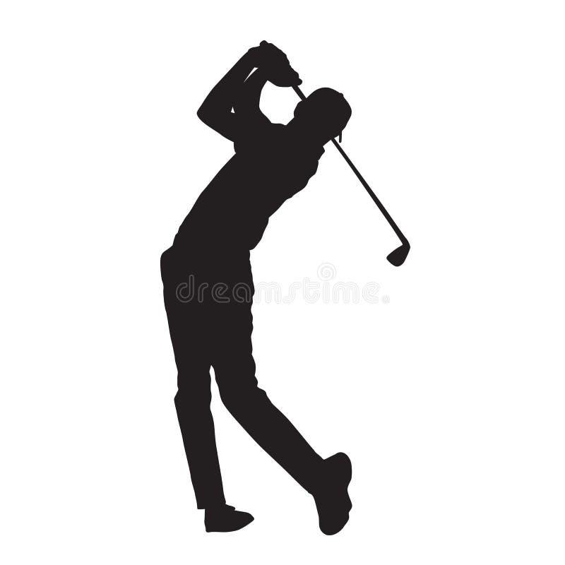Siluetta isolata di vettore del giocatore di golf illustrazione di stock