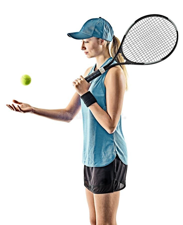 Siluetta isolata donna di tennis immagine stock libera da diritti