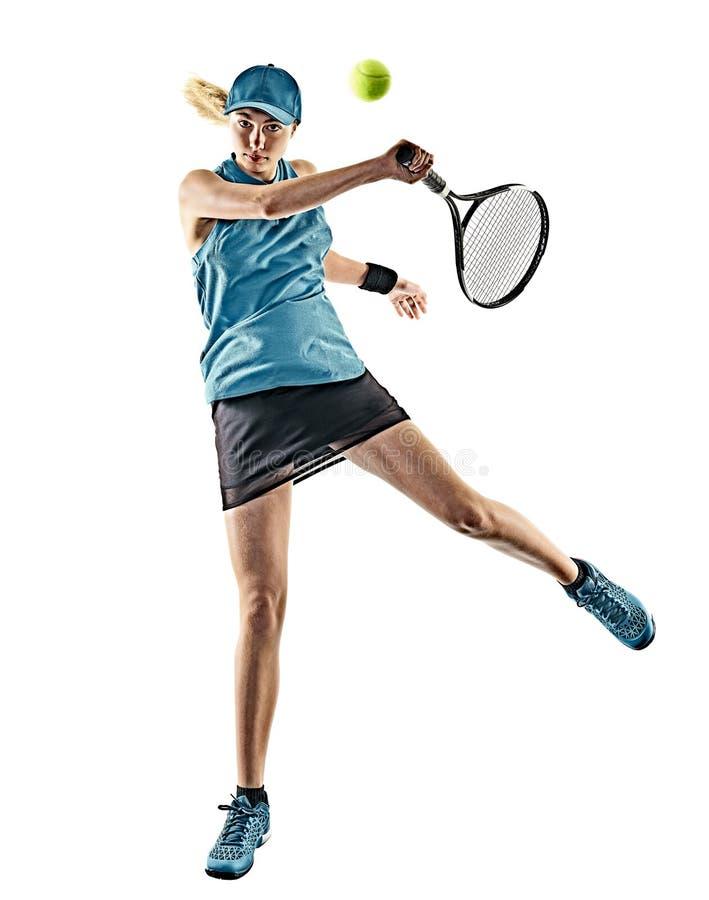 Siluetta isolata donna di tennis fotografia stock