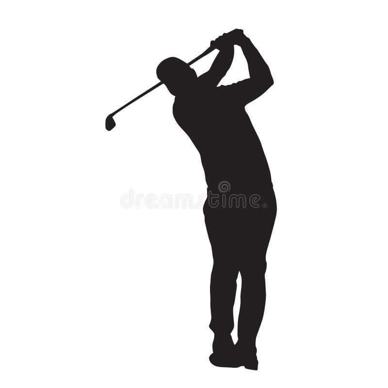 Siluetta isolata vettore del giocatore di golf illustrazione di stock